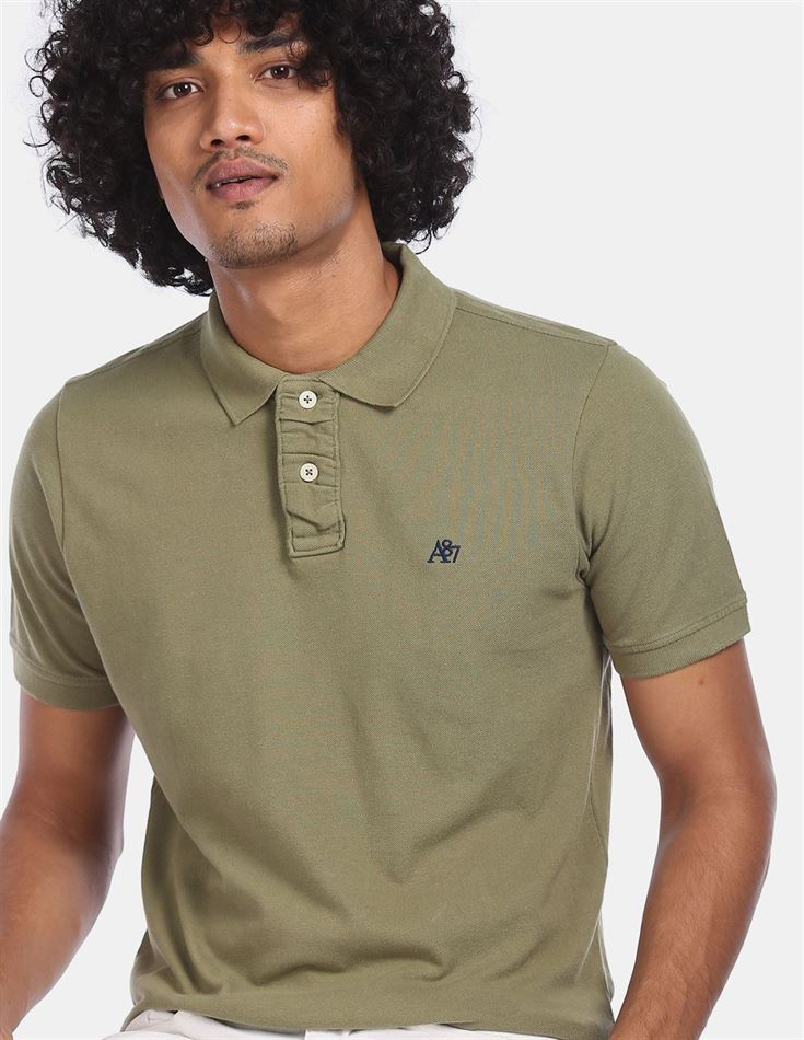Aeroppostale Men Casual Wear Light Green T-Shirt