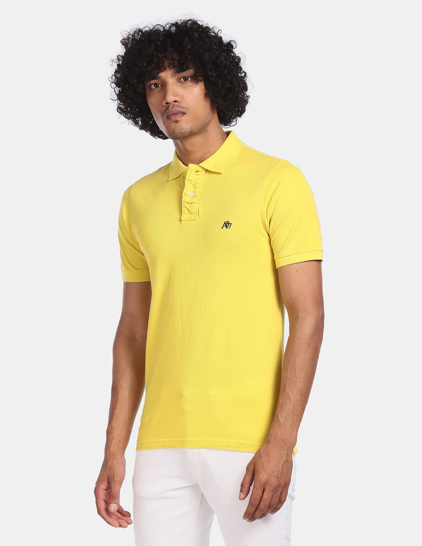 Aeroppostale Men Casual Wear Yellow T-Shirt