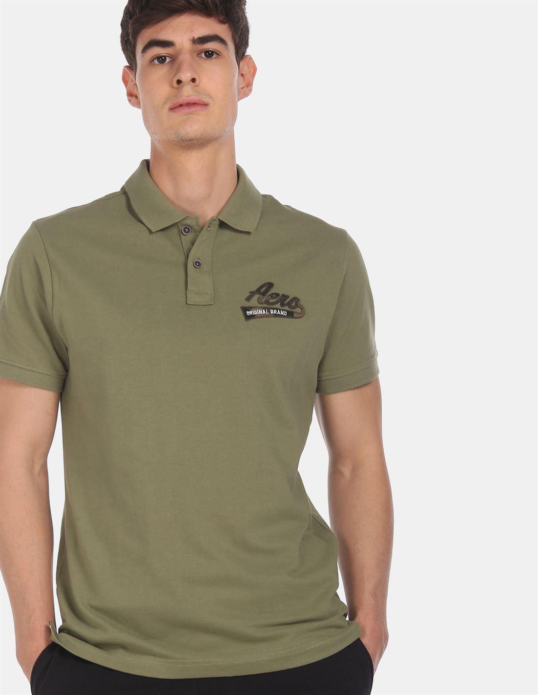 Aeroppostale Men Casual Wear Green T-Shirt