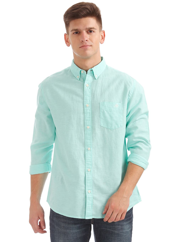 Aeropostale Men Casual Wear Solid Shirt