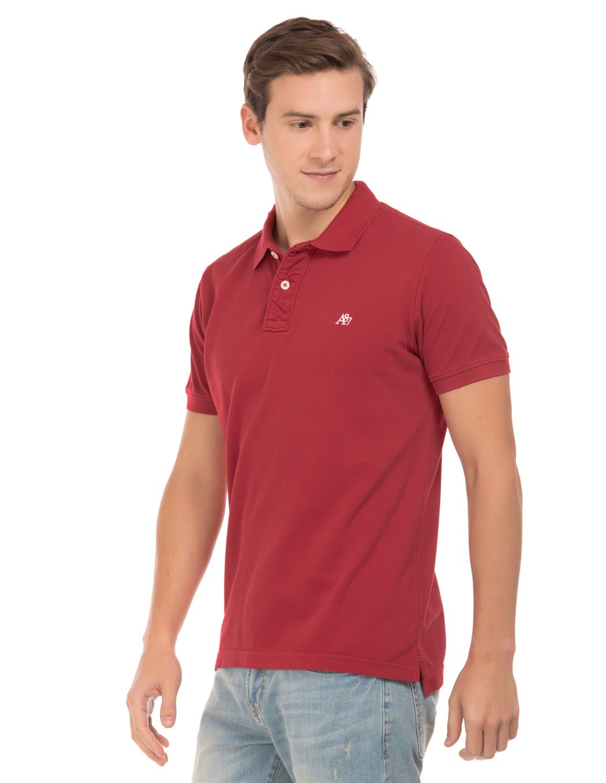 Aeropostale Men Casual Wear Solid Polo T-Shirt