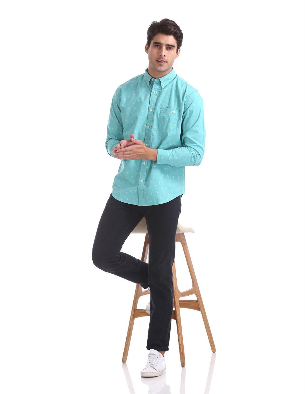 Aeropostale Men Casual Wear Printed Shirt