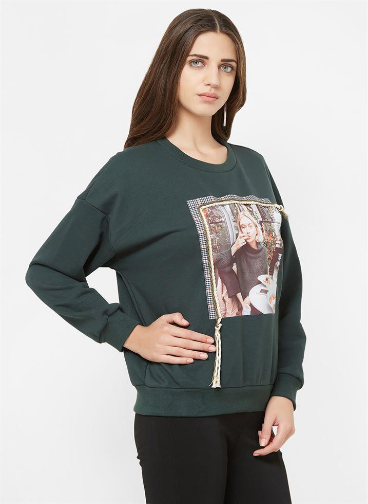 Bebe Women Casual Wear Green Sweatshirt