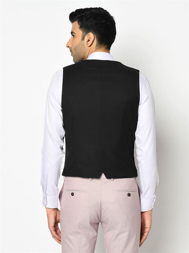 Blackberry Men Casual Wear Black Waistcoat
