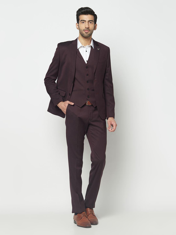 Blackberry Men Formal Wear Wine 3 Piece Suit