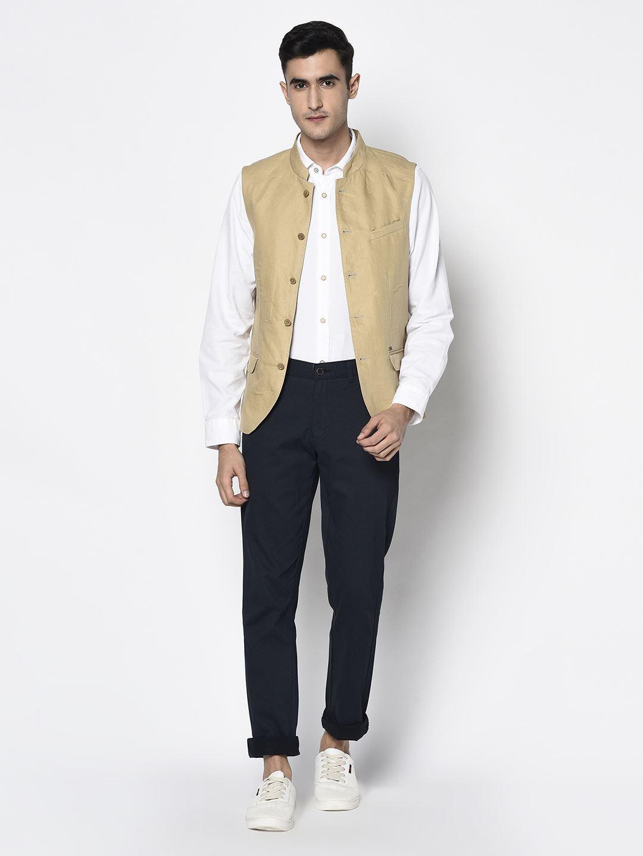 Blackberry Men Casual Wear Beige Waistcoat