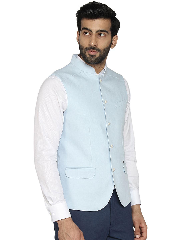 Blackberry Men Casual Wear Blue Waistcoat