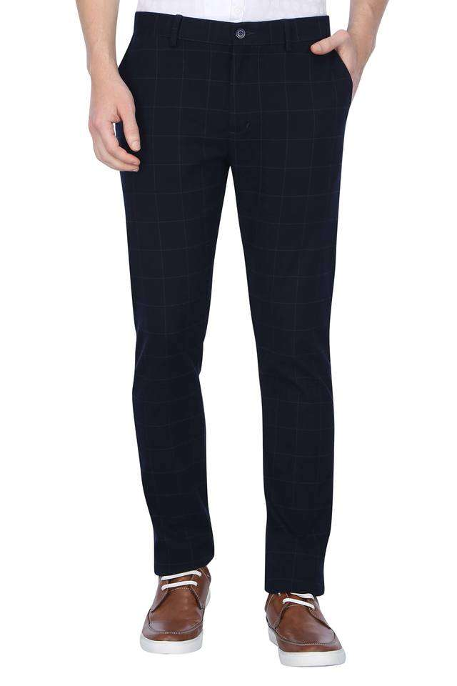 Blackberry Casual Men Casual Wear Checkered Trousers