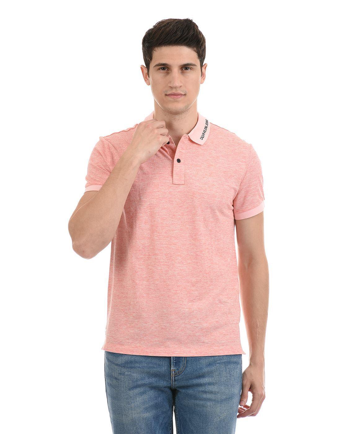 Calvin Klein  Men Casual Wear Peach T-Shirt