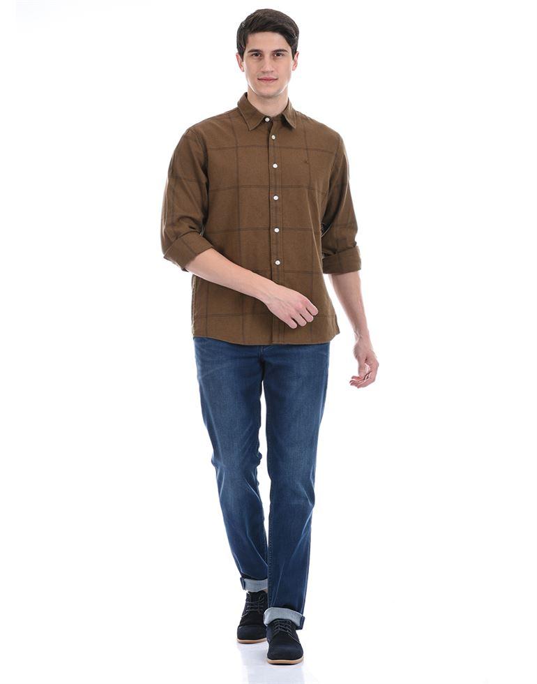 Calvin Klein Men Casual Wear Brown Shirt