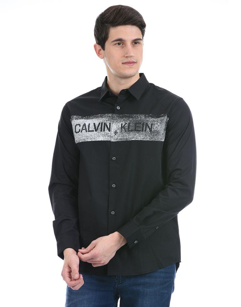 Calvin Klein Men Casual Wear Black Shirt