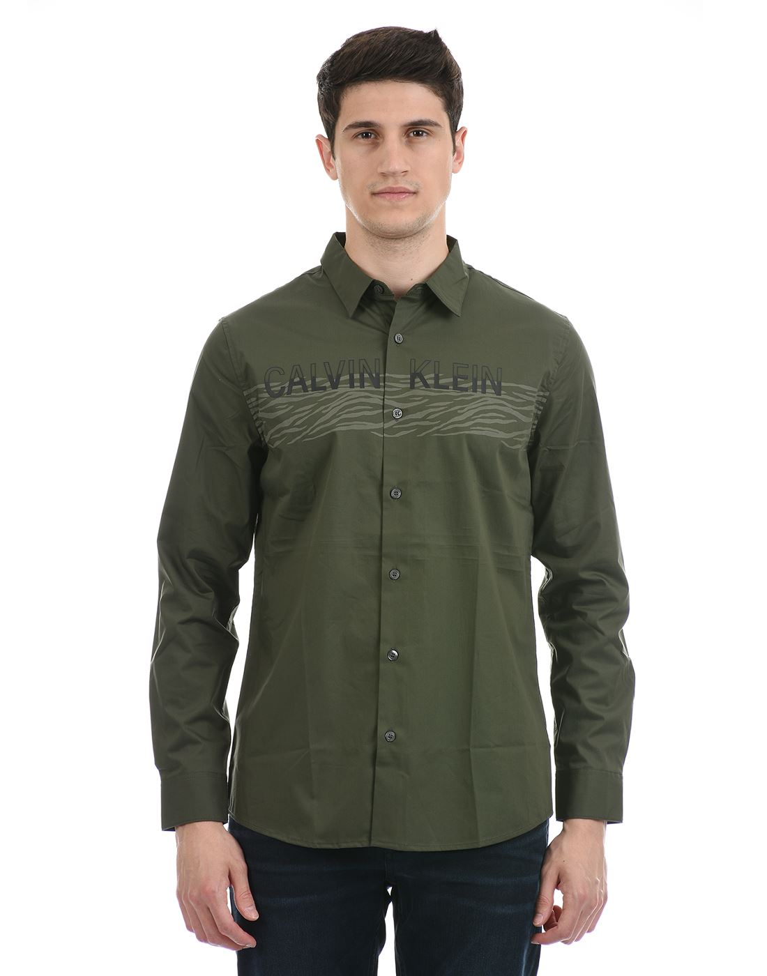 Calvin Klein  Men Casual Wear Olive Shirt