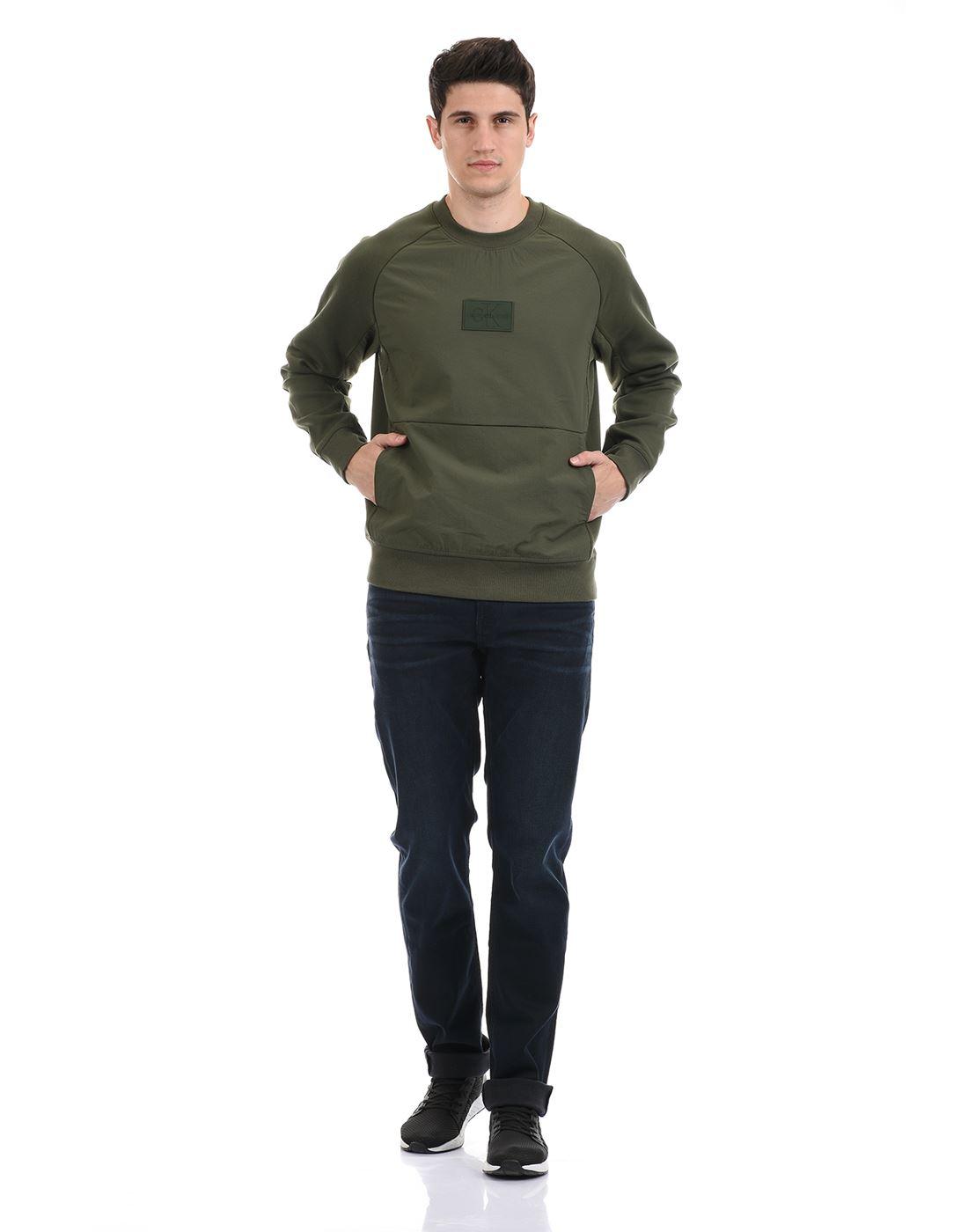 Calvin Klein  Men Casual Wear Olive Sweat Shirt