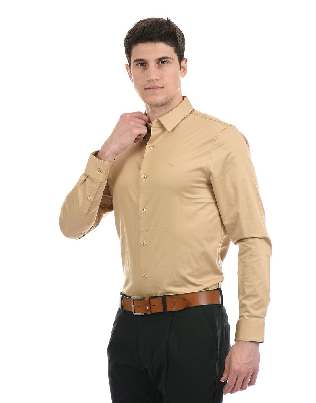 Calvin Klein  Men Formal Wear Gold Shirt