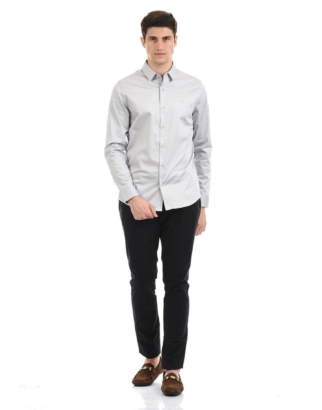 Calvin Klein  Men Formal Wear Grey Shirt