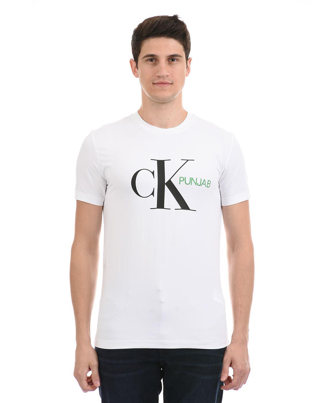 Calvin Klein  Men Casual Wear White T-Shirt