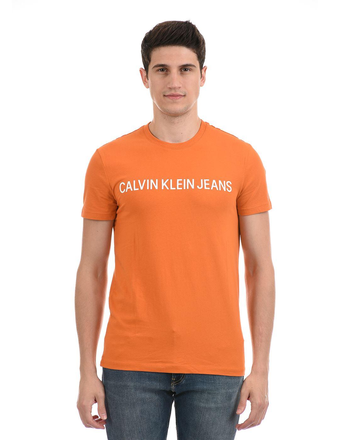Calvin Klein  Men Casual Wear Orange T-Shirt