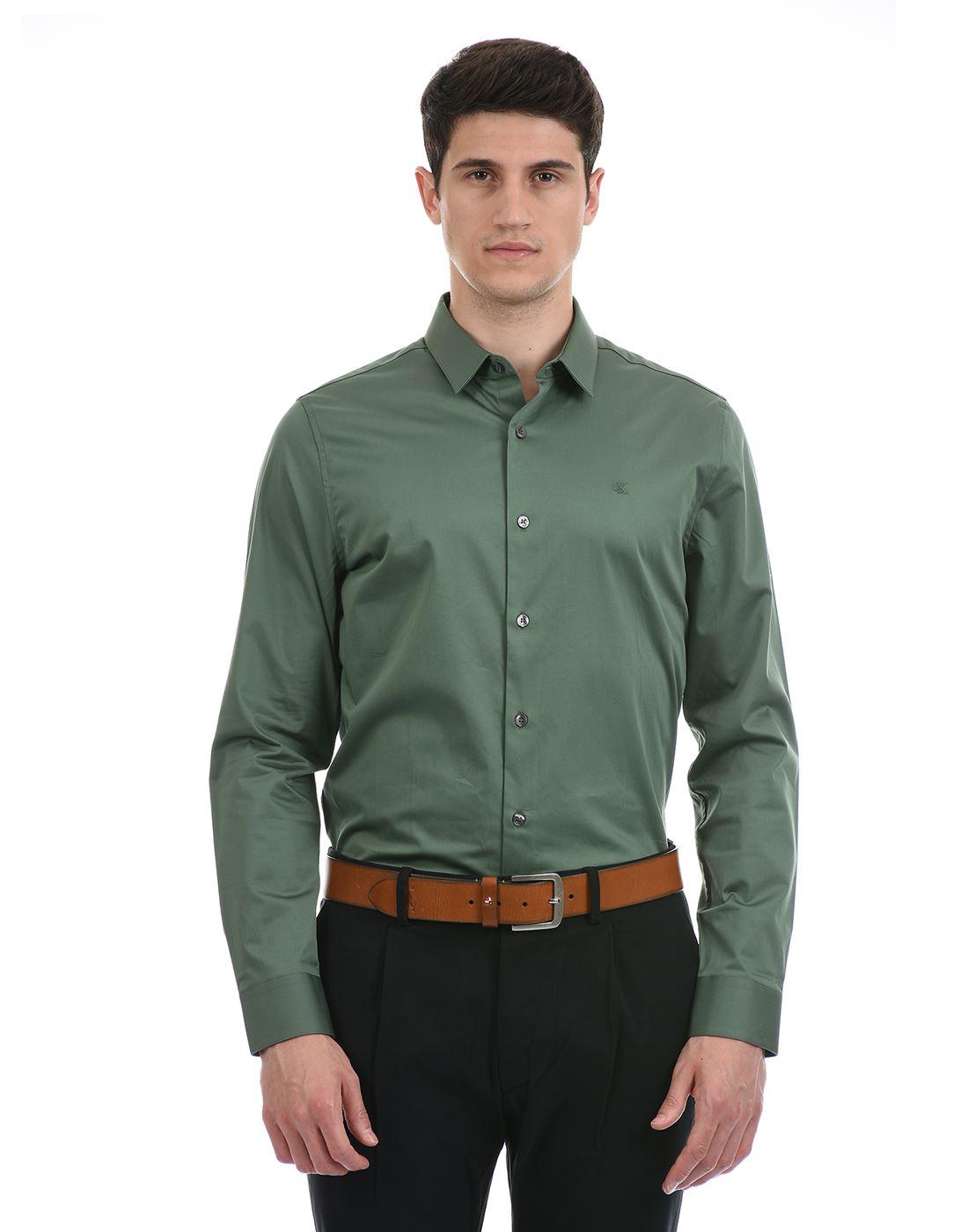 Calvin Klein  Men Formal Wear Dark Green Shirt