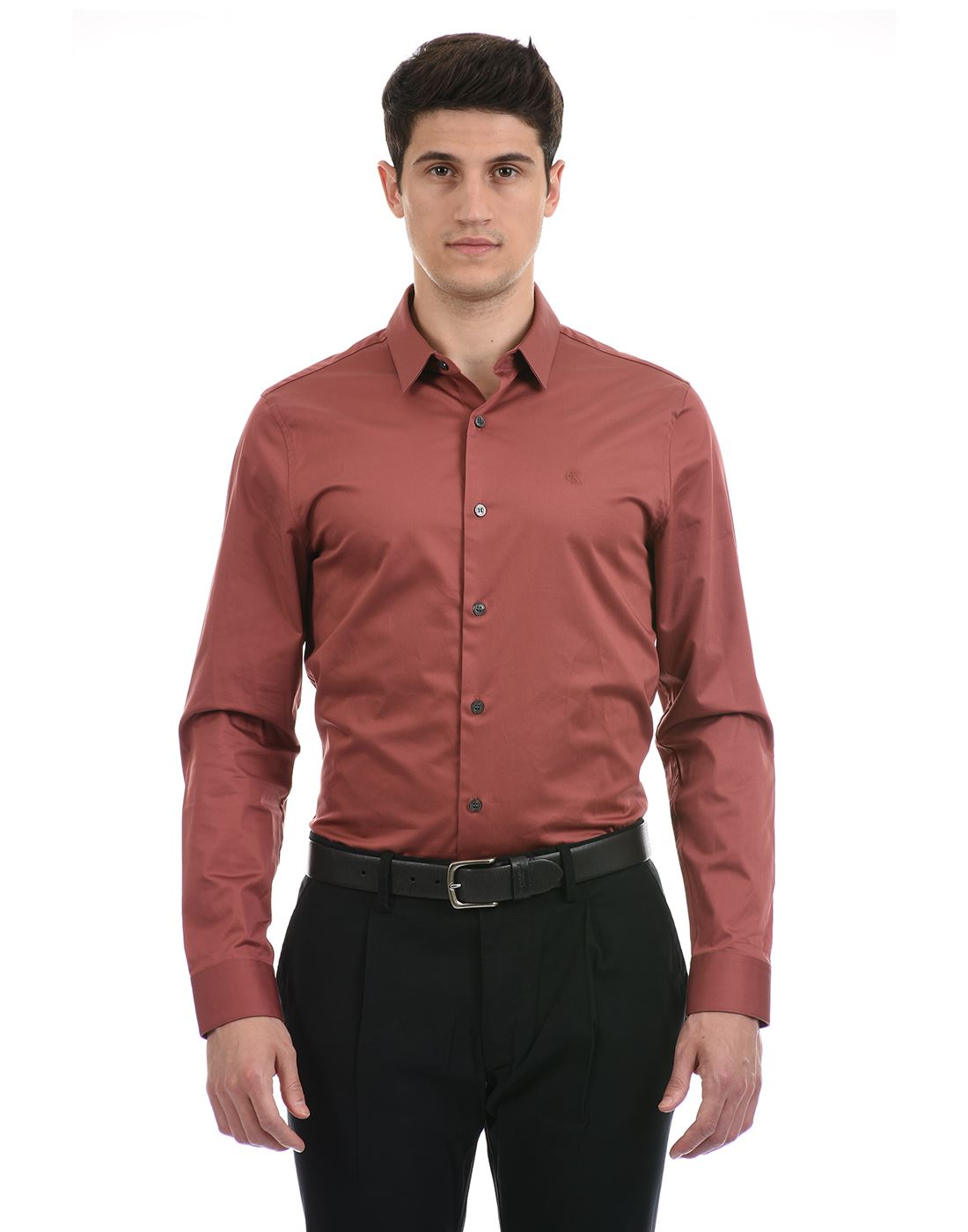 Calvin Klein  Men Formal Wear Maroon Shirt