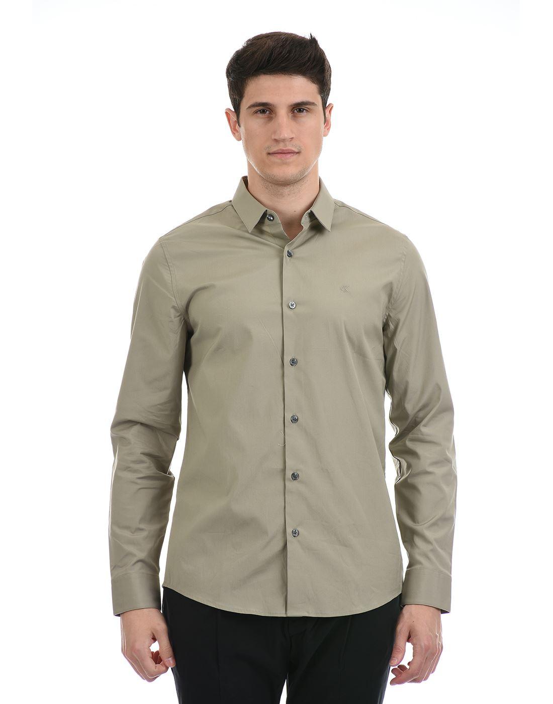 Calvin Klein  Men Casual Wear Green Shirt