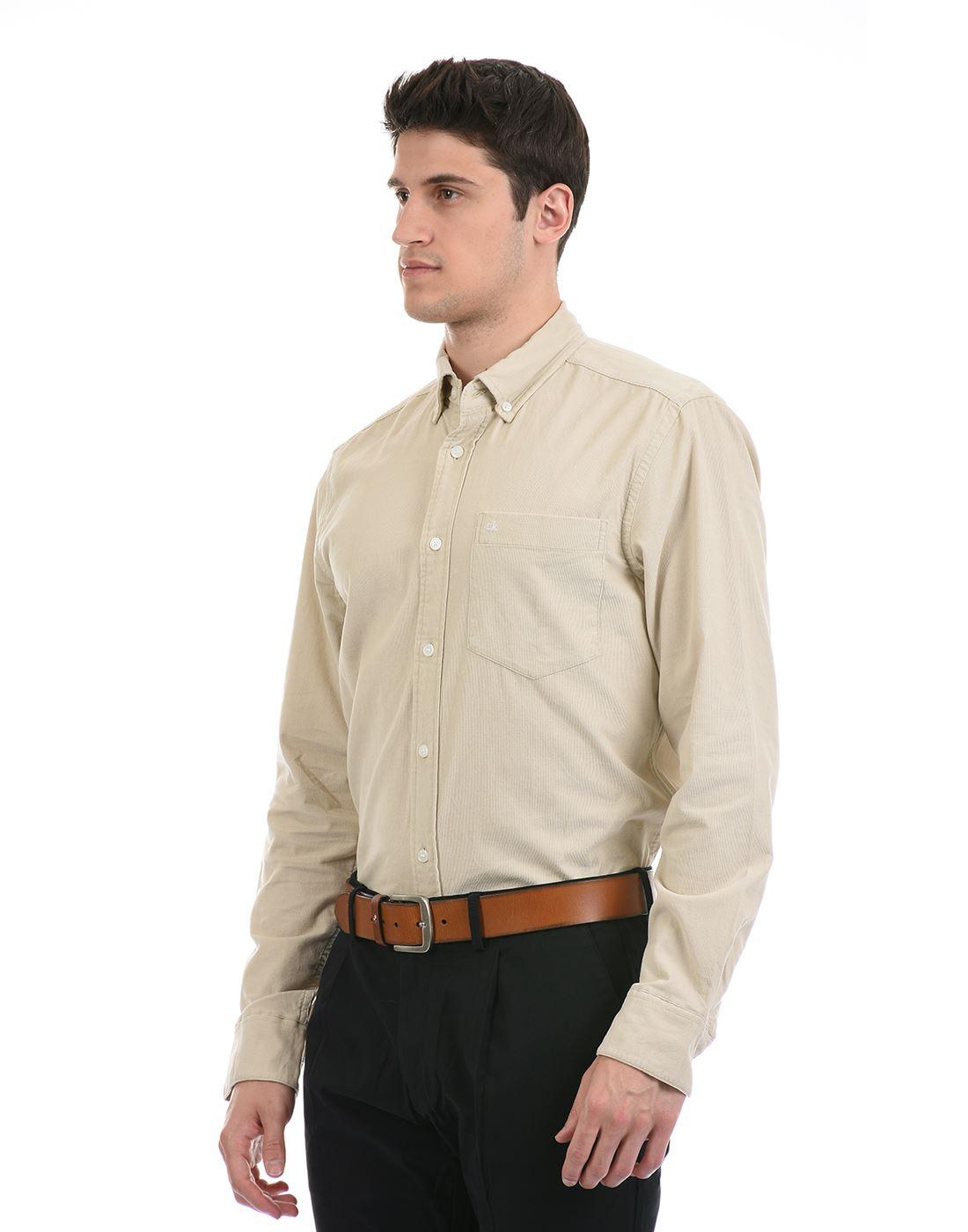 Calvin Klein  Men Casual Wear Beige Shirt