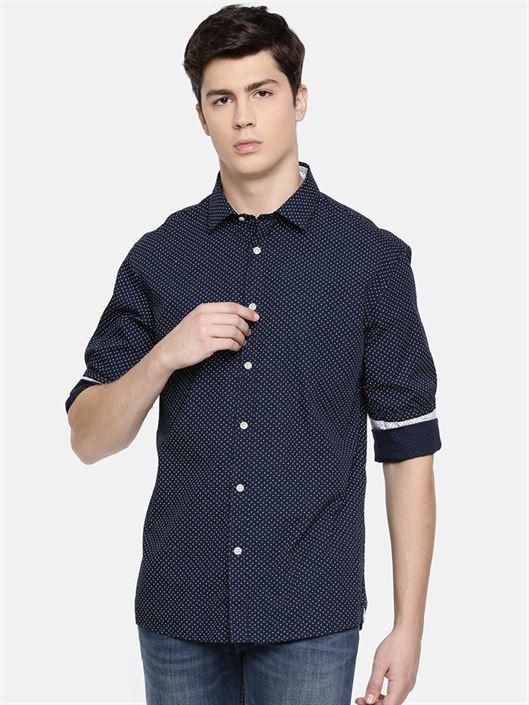Celio Men's Polka Print Regular Fit Casual Wear Shirt
