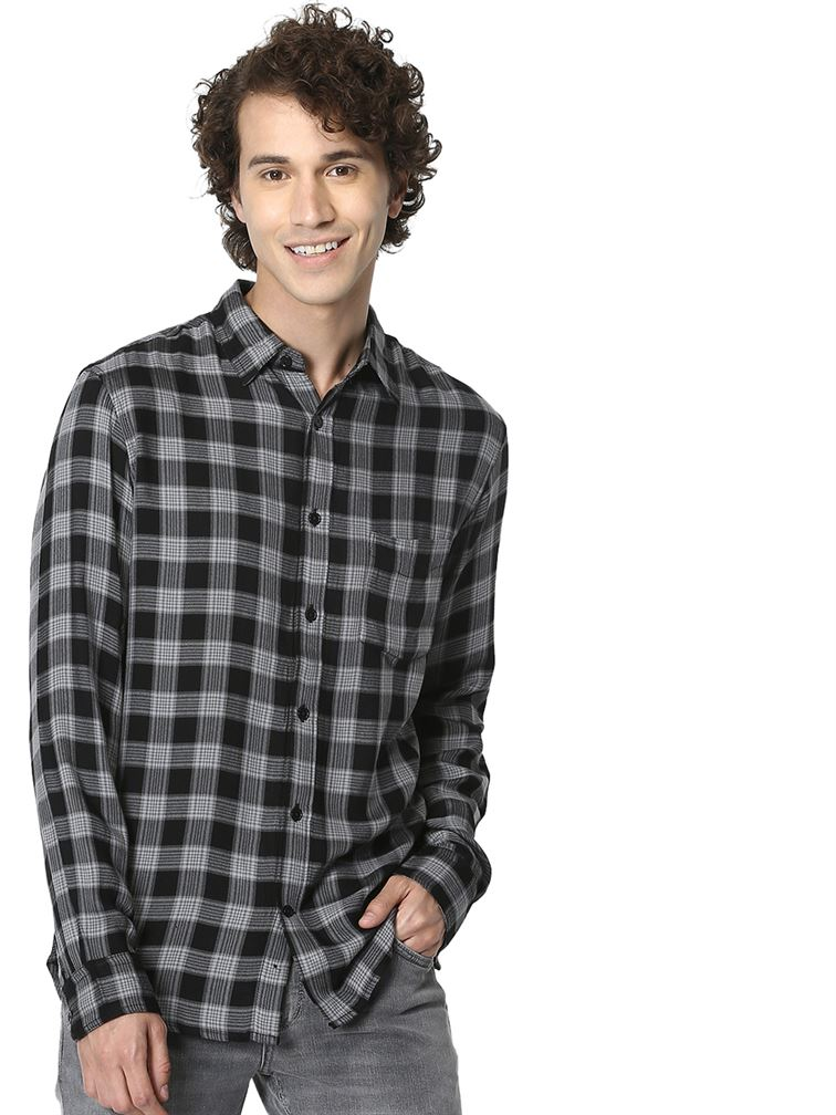 Celio Men Casual Wear Black Shirt