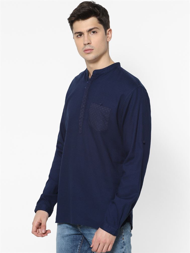 Celio Men Casual Wear Navy Blue Shirt