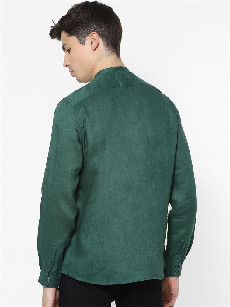 Celio Men Casual Wear Green Shirt