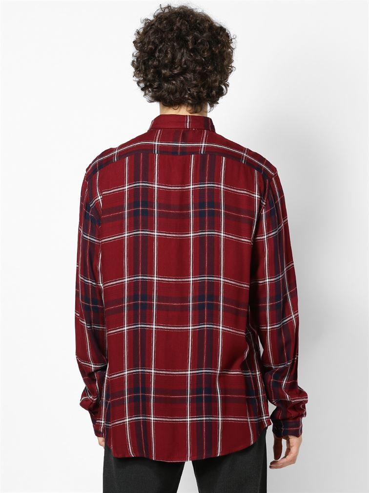 Celio Men Casual Wear Maroon Shirt