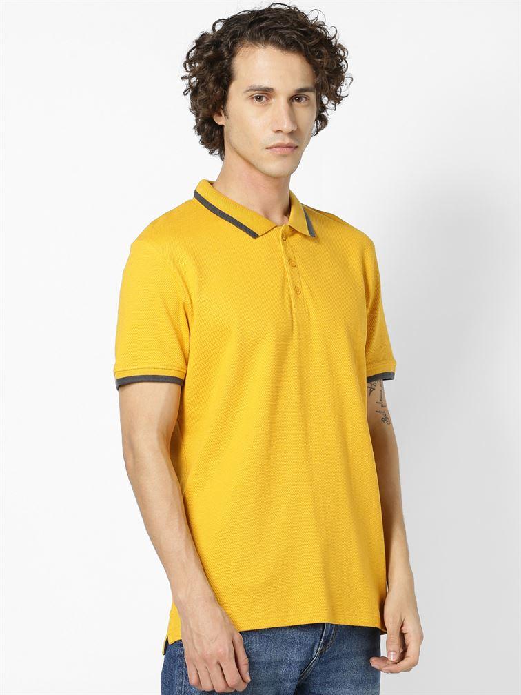 Celio Men Casual Wear Yellow T-shirt