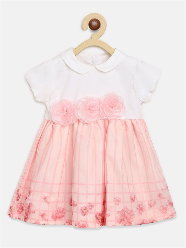 Chicco Girls Pink Casual Wear Frock