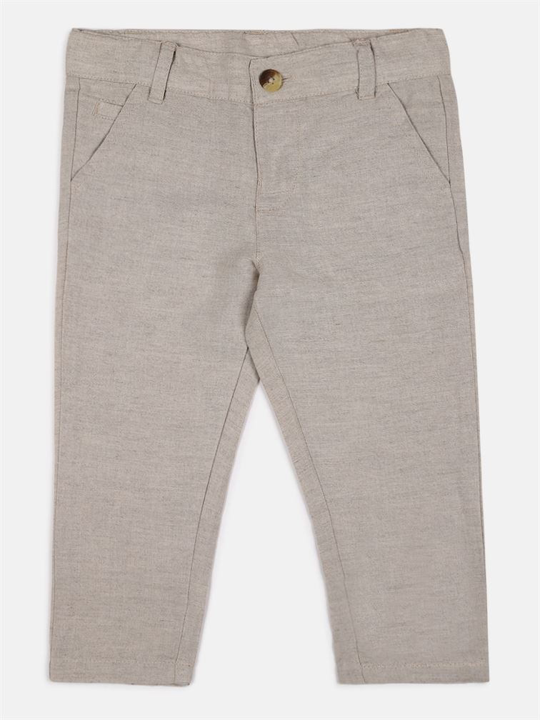 Chicco Boys Beige Casual Wear Trousers