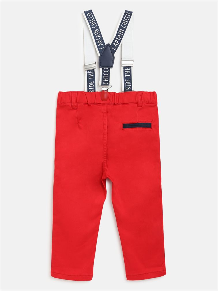 Chicco Boys Red Casual Wear Trousers