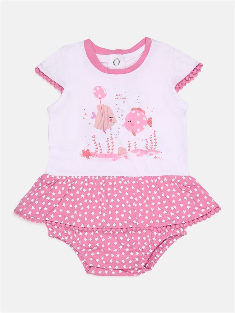 Chicco Girls Pink Casual Wear Romper