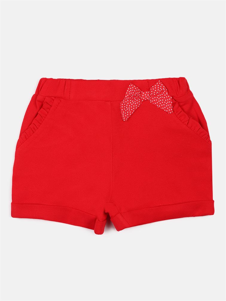 Chicco Girls Red Casual Wear Shorts