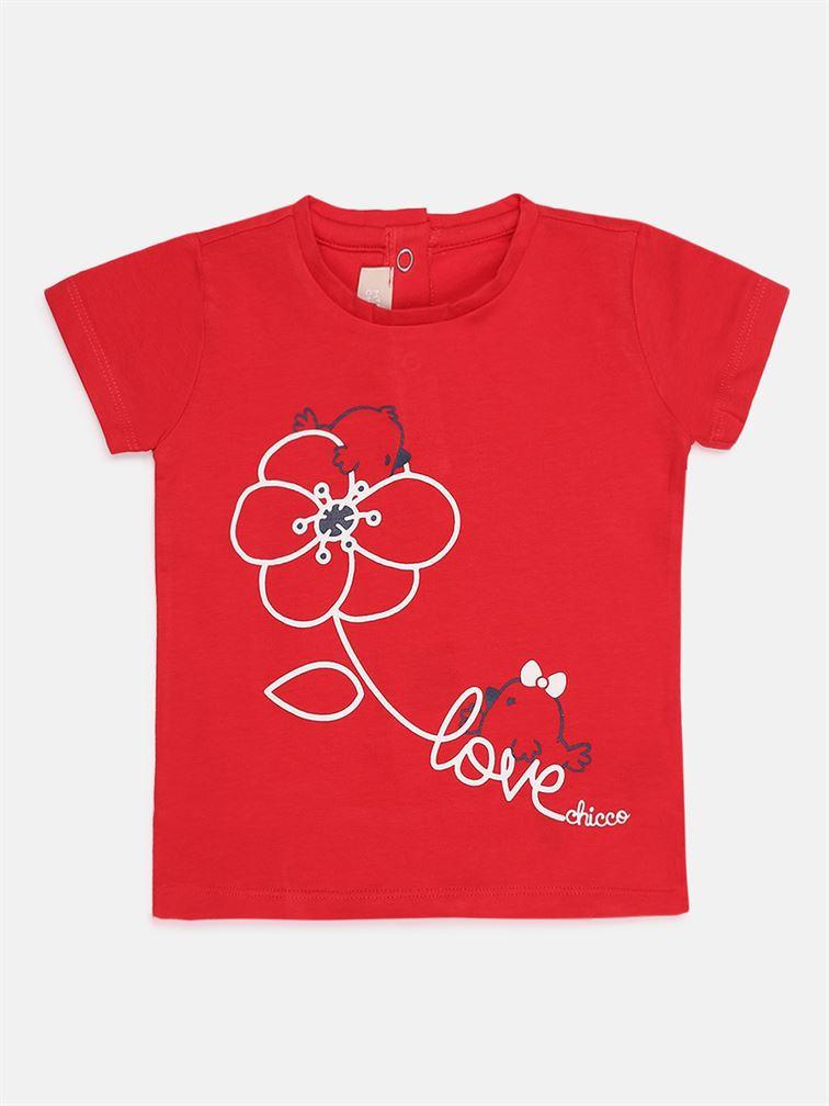 Chicco Girls Red Casual Wear T-Shirt