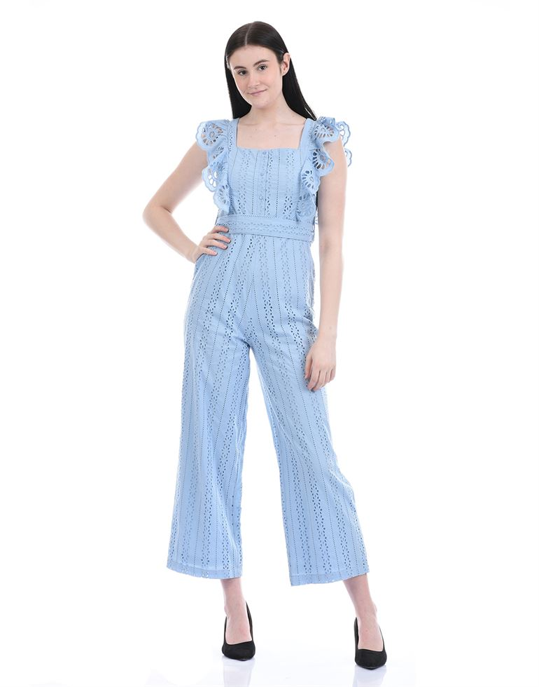 Cover Story Women Casual Wear Blue Jump Suit