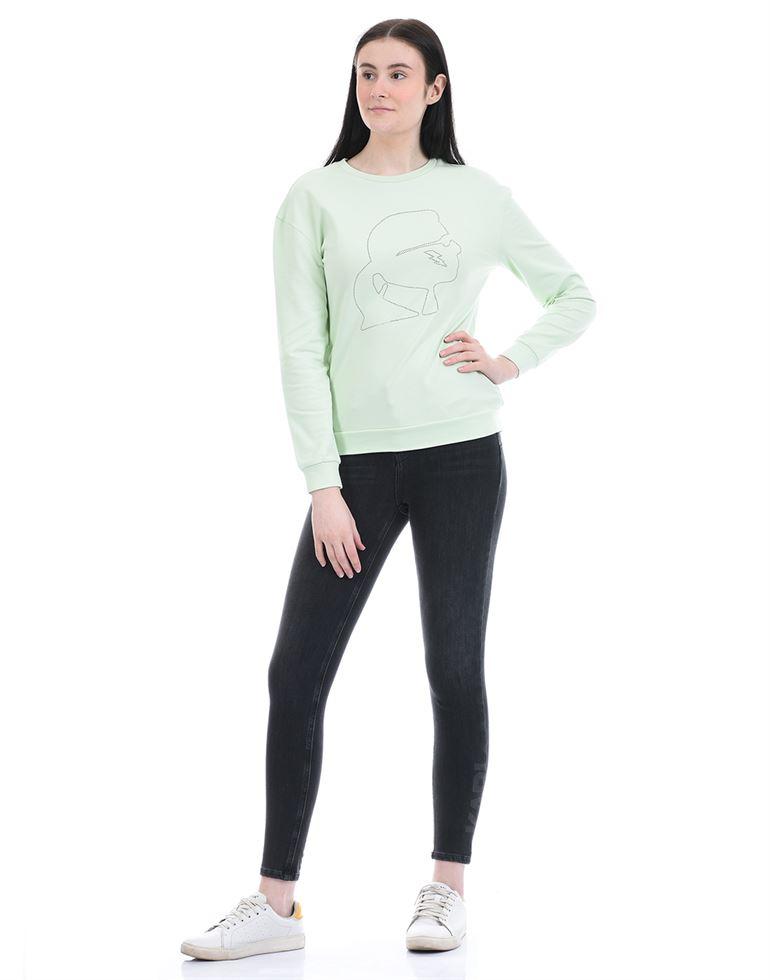 Cover Story Women Casual Wear Light Green Sweat Shirt