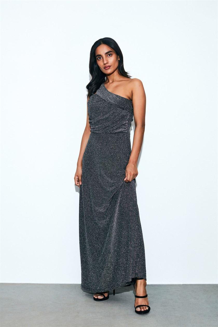 Cover Story Women Party Wear Grey Dress