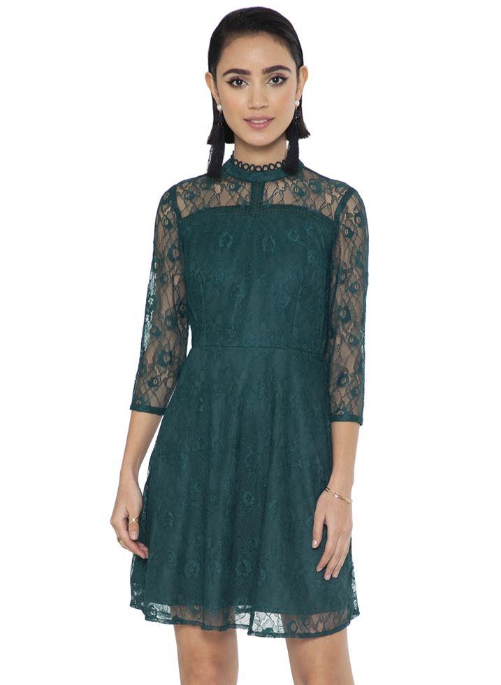 Faballey Women Casual Wear Green Dress