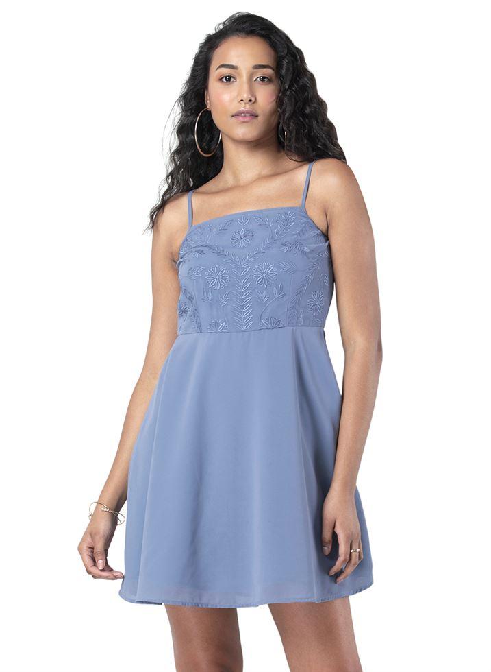 Faballey Women Casual Wear Blue Dress