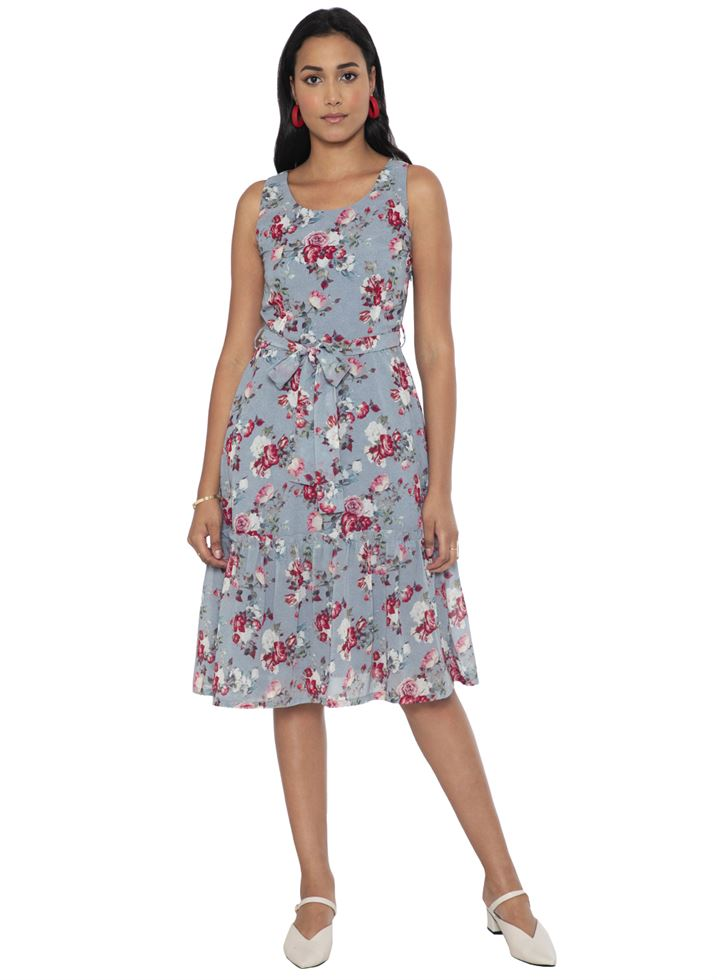 Faballey Women Casual Wear Grey Dress