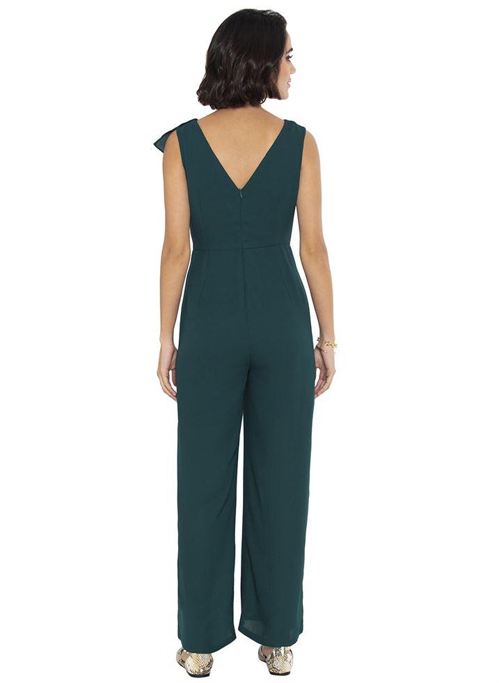 Faballey Women Casual Wear Green Jumpsuit