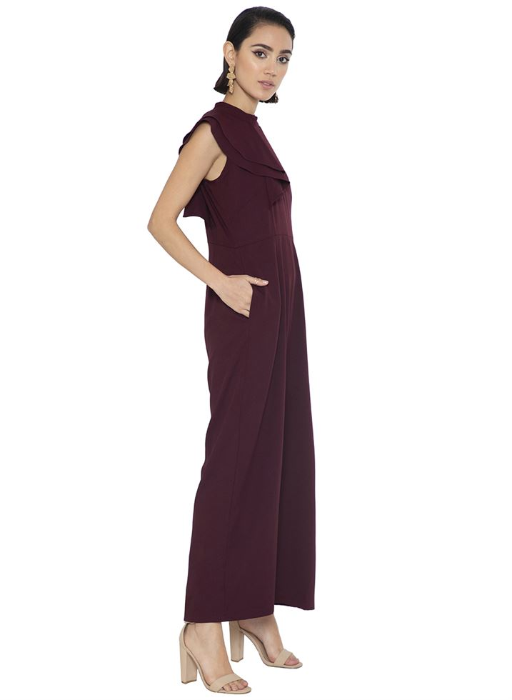 Faballey Women Casual Wear Maroon Jumpsuit