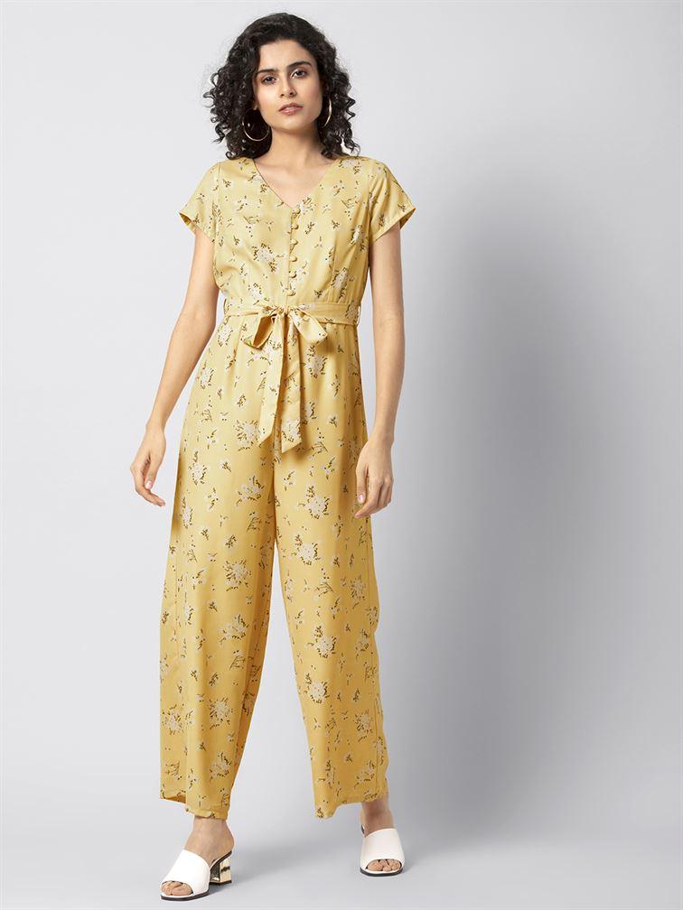 Faballey Women Casual Wear Yellow Belted Jumpsuit