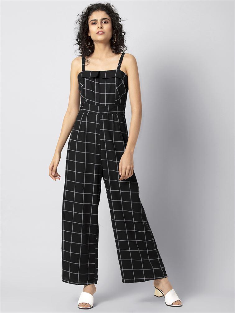 Faballey Women Casual Wear Black Jumpsuit