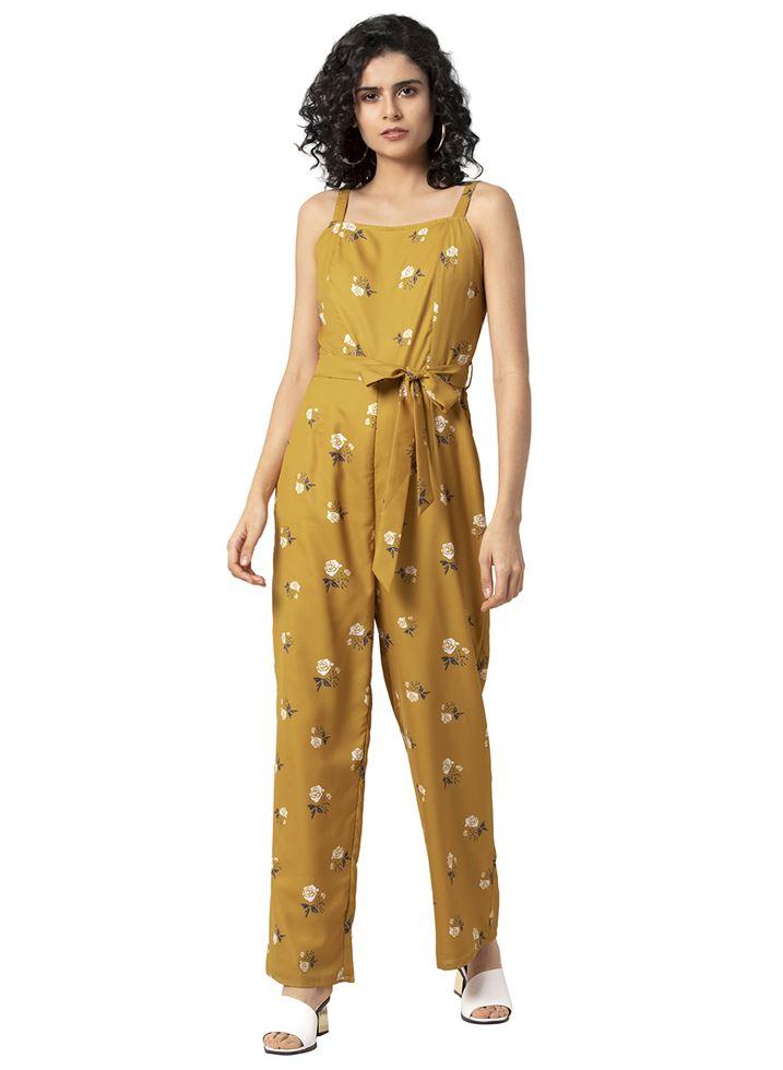Faballey Women Casual Wear Yellow Jumpsuit