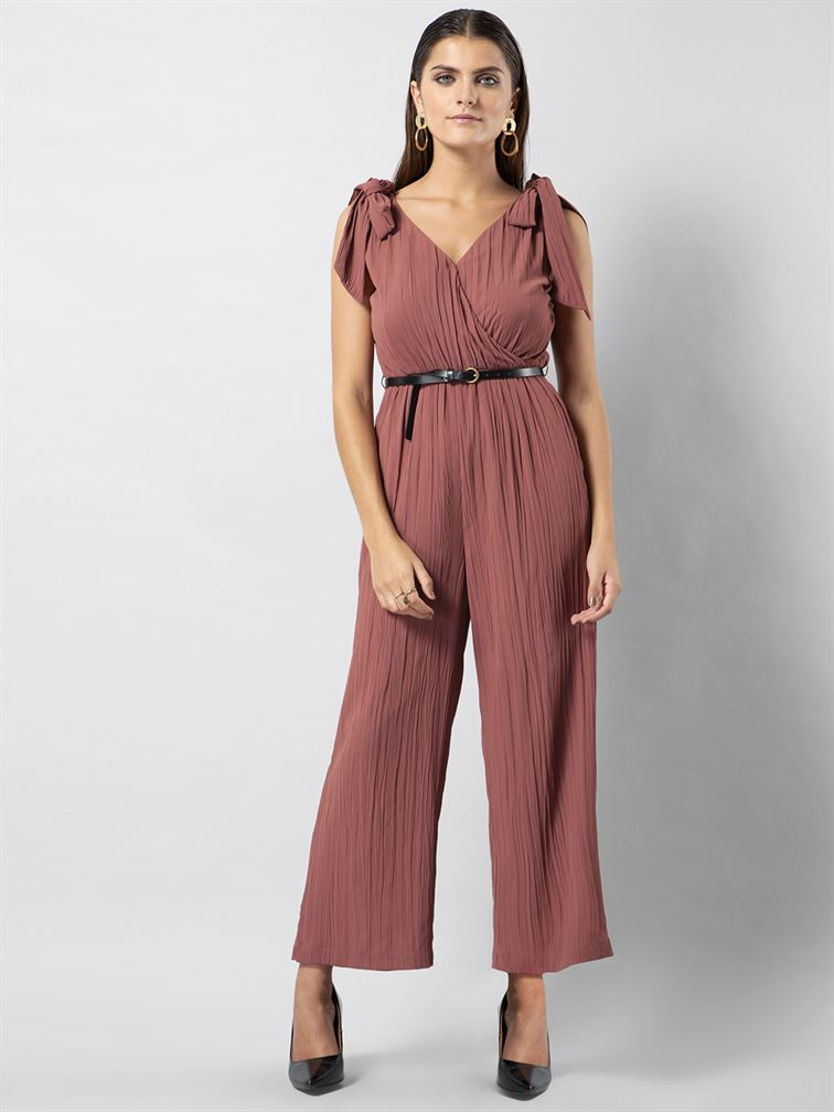 Faballey Women Casual Wear Pink Jumpsuit With Belt
