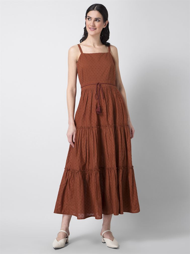 Faballey Women Casual Wear Brown A-Line Dress